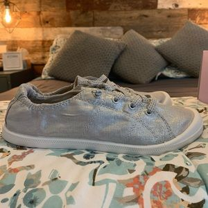 Madden Girl Baailey Silver Fabric Sneaker NWT